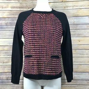 J. Crew Tweed Front Merino Wool Sweater Pockets